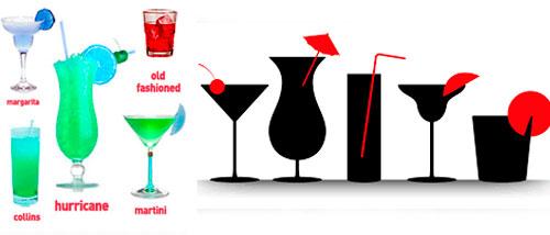 Copas y vasos en los cocteles